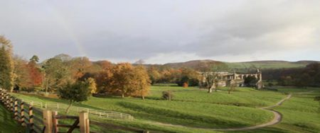 A view of the beautiful Yorkshire Dales at Bolton Abbey